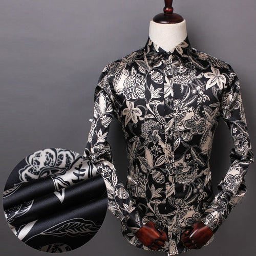 Prettymia Elastic Mercerized Silk Satin Men's Shirt