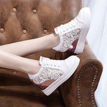 Prettymia Mesh Lace Breathable Elevator Heel Loafers