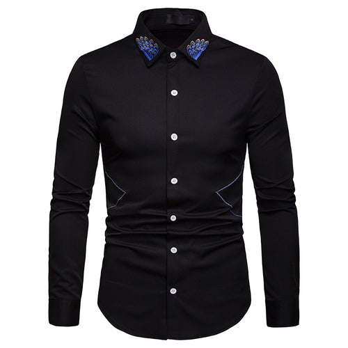 Prettymia Comfortable Business Lapel Embroidery Men's Shirt