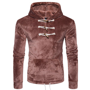 Prettymia Button Hooded Pullover Pocket Casual Men's Hoodies