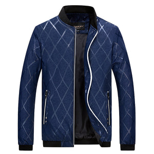Prettymia Plaid Windproof European Casual Men's Jacket