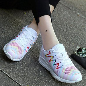 Prettymia Round Toe Lace Up Sneakers