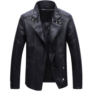 Prettymia Notched Neck Zippered PU Men's Leather Coat