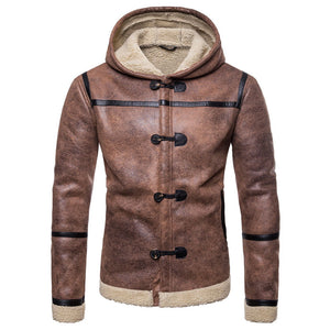 Prettymia Patchwork PU Hooded Men's Jackets Coats