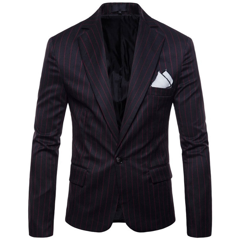Prettymia Polyester Stand Collar Hit Color Stripe Men's Jackets Coat