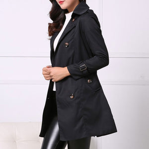 Prettymia Plain Lace Up Double Breasted Trench Coat