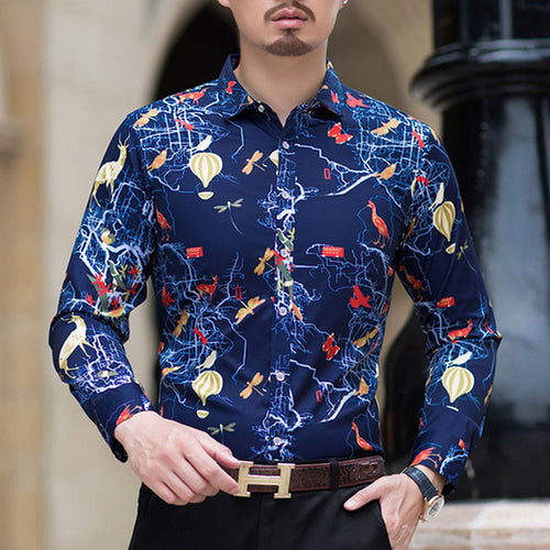 Prettymia Comfortable Lapel Printing Single-row Buckle Men's Shirt