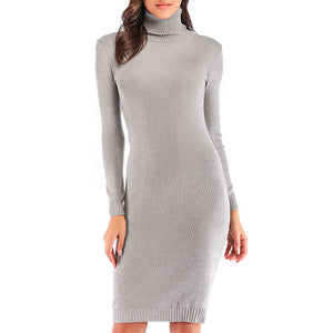 Prettymia Plain Long Sleeve Turtleneck Knitted Dress