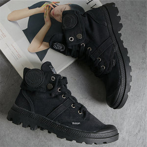 Prettymia High Top Lace Up Casual Denim Canvas Shoes
