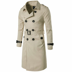 Prettymia Lapel Plain Casual Double-Breasted Men's Trench Coat