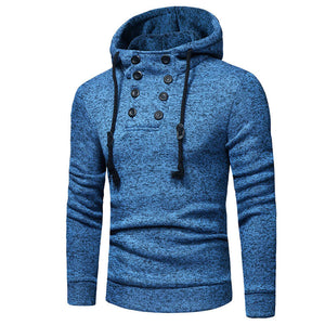 Prettymia Worn Button Pullover Hooded Slim Men's Hoodies