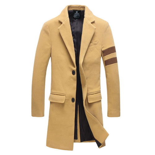 Prettymia Stripe Lapel Plain Wool Blends Casual Men's Trench Coat