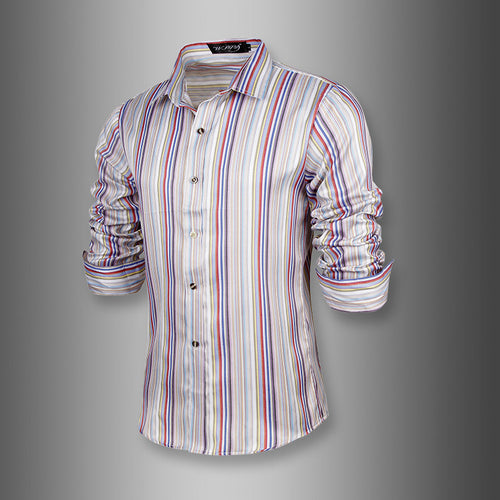 Prettymia Long Sleeves With Vertical Stripes Men's Shirt