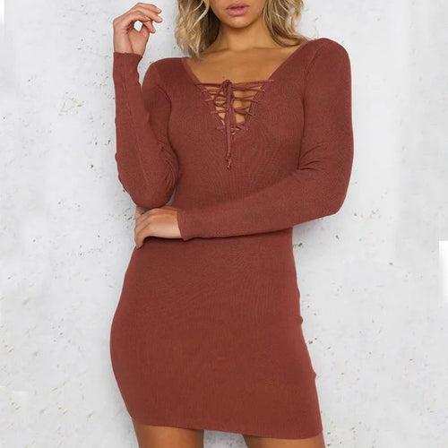 Prettymia Plain Lace Up Long Sleeve Women's Knitted Dress