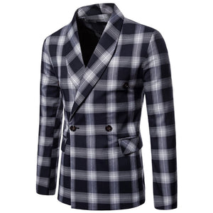 Prettymia Lattice Pattern Stand Collar Casual Men's Jackets Coat
