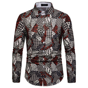 Prettymia Colour Printing Thousand Birds Checker Men's Shirt