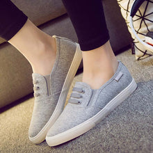 Prettymia Slip On Round Toe Flat Casual Canvas Shoes