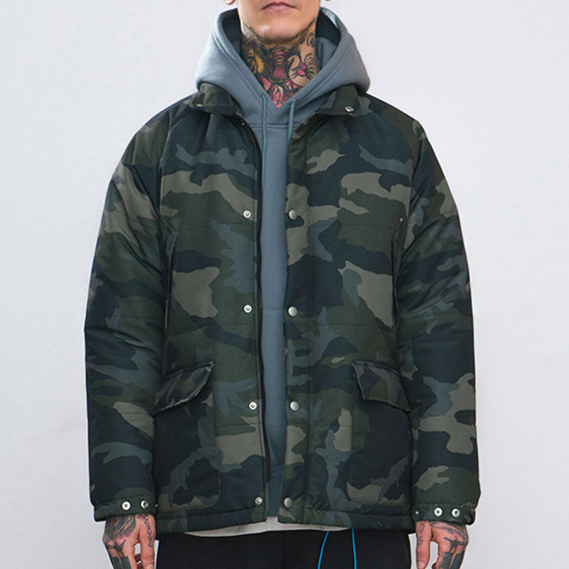 Prettymia Camouflage Outdoor Windproof Casual Men's Down Coat