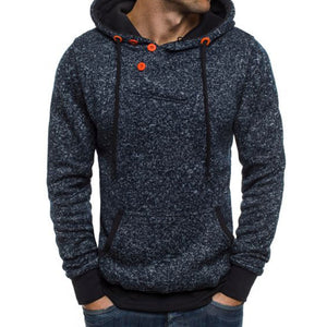 Prettymia Solid Color Outdoor DrawString Men's Hoodie
