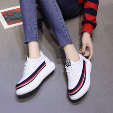Prettymia Stripe Round Toe Lace Up Casual Platform Sneakers