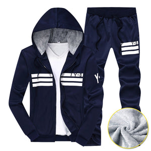 Prettymia Striped Letter Windproof DrawString Men's Sports Suit