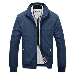 Prettymia Long Sleeve Pure Color Zippered Turn-down Collar Men's Jacket