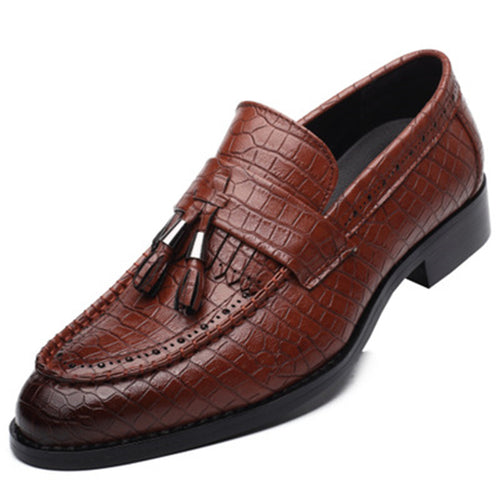 Prettymia Tassel Croco Leather Men's Casual Shoes