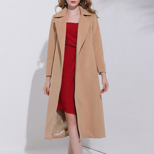 Prettymia Plain Lace Up Lapel European Woolen Coat