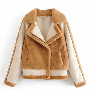 Prettymia Color-blocked Lapel Casual Jackets Coat