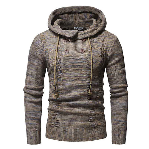 Prettymia Woolen Pullover Lace-Up Casual Printing Men's Sweater