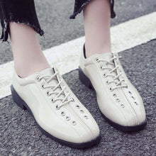 Prettymia Lace Up Metal Square Toe Low Heel Loafers