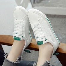 Prettymia Round Toe Lace Up Flat Canvas Shoes