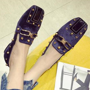 Prettymia Square Toe Slip On Flat Loafers