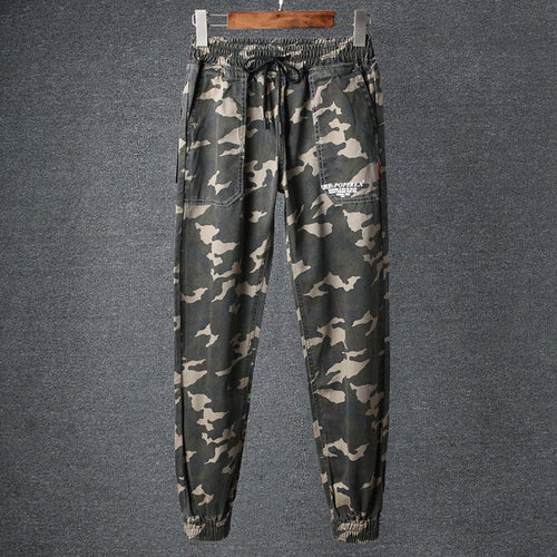 Prettymia Casual Lace-Up Camouflage Pocket Cotton Men's Casual Pants
