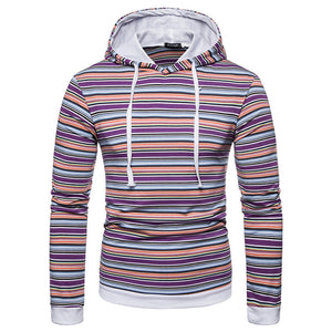 Prettymia Hooded Pullover Cotton Stripe Contrast Color Men's Hoodies