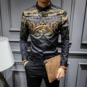 Prettymia Geometric Slim Patchwork Cotton Men's Shirts