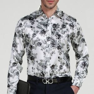 Prettymia Simulated Silk Satin Printed Roses Men's Shirt