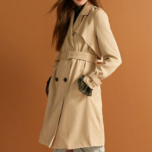 Prettymia Double-Breasted Slim Lapel Trench Coat