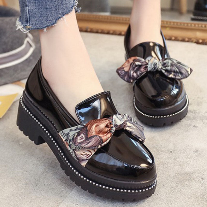 Prettymia Bow Tie Round Toe Slip On Low Heel Loafers