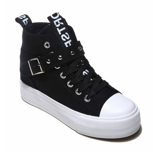 Prettymia Elevator Heel High Top Lace Up Buckle Platform Canvas Shoes