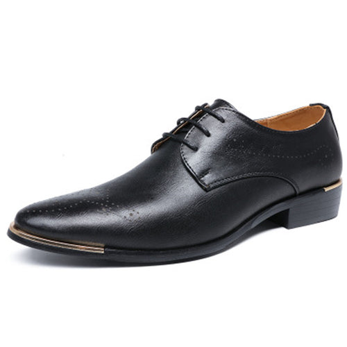 Prettymia Leather Lace Up Print Men's Formal Shoes