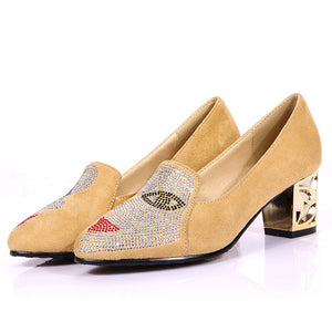 Prettymia Plus Size Rhinestone Slip On Eyes Chunky Heels