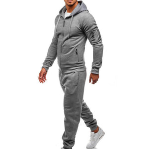Prettymia Plain Fitness Comfortable Zippered Men's Sports Suit
