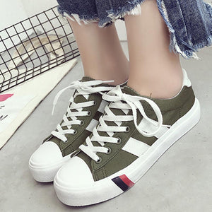 Prettymia Lace Up Round Toe Casual Canvas Shoes