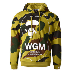 Prettymia Cartoon Letter Camouflage Casual Men's Hoodies