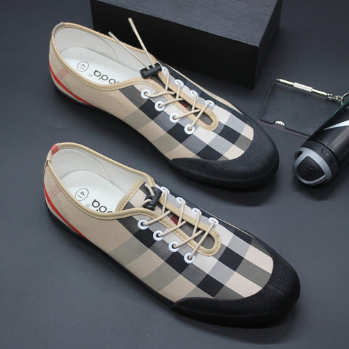 Prettymia Lace-up Plaid Canvas Shoes
