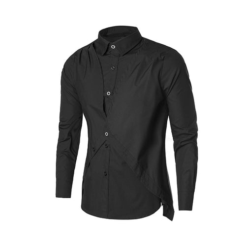 Prettymia Leisure Time Long Sleeve Solid Color Men's Shirt