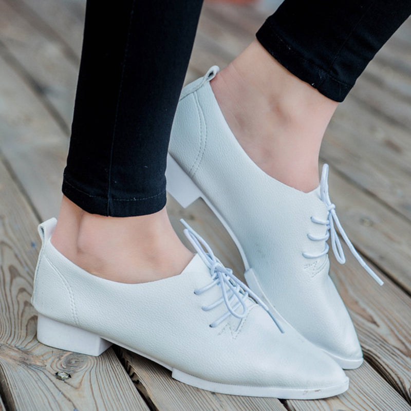Prettymia Lace Up Pointed Toe Low Heel Casual Loafers