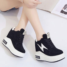 Prettymia Elevator Heel Round Toe Lace Up Sneakers