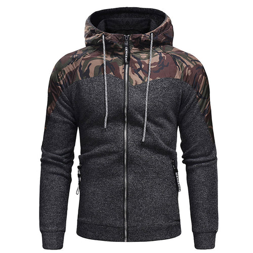 Prettymia Heap Collar Pullover Camouflage Hit Color Men's Hoodies